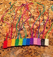 10 PC Lot LEGO Girls Boys Brick Necklaces Rainbow Neon Brick Party Favor Cute