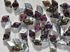(50 beads) Czech Glass Two Hole Beads: GemDuo® Backlit - Purple Haze #29532