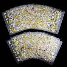 24 SHEETS!! NAIL ART 3D DESIGN NAIL STICKERS GOLD SILVER CUTE FLORAL DESIGN J168