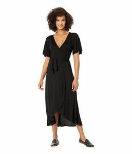 LUCKY BRAND Flutter Sleeve MIDI Wrap Dress LARGE Black Jersey Knit NEW $79