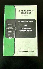 Vintage John Deere 31 Trailer Sprayer Book Operators Manual Dealer Copy