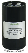 43 - 52 uF x 330 VAC • BMI # 092A043B330BD4A Motor Start Capacitor • USA