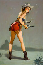 COWGIRL PIN-UP CALENDAR GIRL GUNS HOLSTER WESTERN VINTAGE CANVAS ART PRINT- BIG