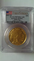2007-W $50 GOLD BUFFALO PCGS PR70 DCAM FIRST STRIKE NEW MINT 24KT