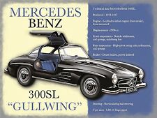 Mercedes Benz 300SL, Retro metal vintage style Sign/Plaque Nostalgic Gift