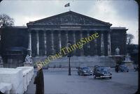 Paris France Street Scene Cars 1950s 35mm Slide Red Border Kodachrome Flag