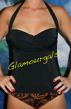 New Victorias Secret Forever Black Sexy Push Up Retro Exotic Tankini Sz 34D