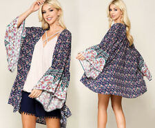 GiGiO By UMGEE Ruffled Wide Sleeve Kimono Boho Floral Open Front Peasant Top