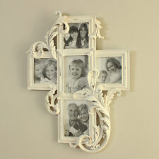 White wooden distressed wall mountable carved photograph picture frame