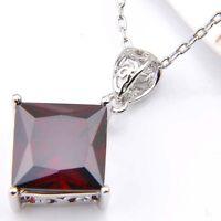Square Cut Natural Fire Red Garnet Gemstone Platinum Plated Necklace Pendants