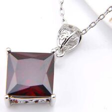 Square Cut Natural Fire Red Garnet Gemstone Platinum Plated Necklace Pendants