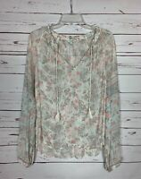 Lucky Brand Women's M Medium White Gray Floral Long Sleeve Cute Top Blouse Shirt
