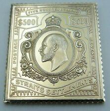 Solid Silver Gilt Stamp Ingot - British Colonies - Straits Settlements $500 1906