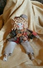 Primitive Fall Scarecrow Girl Doll/Pumpkin Tea Stained Patchwork EUC