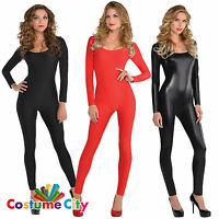 Ladies Black Kitty Red Devil Sexy Catsuit Halloween Fancy Dress Party Costume