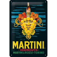 Martini Vermouth Trauben Nostalgie Blechschild 30cm Tin Sign shield