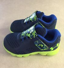 """UNDER ARMOUR """"Thrill RN AC"""" Toddler Blackout Navy/Lime Green Sneakers~~Size 5K"""