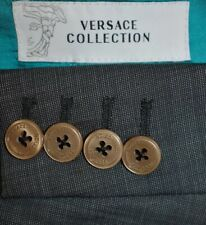 44R Versace Collection Gray Pindot SUIT Flat Front 38