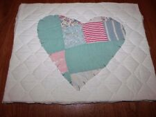 "Very Pretty Vintage Patchwork Quilted Heart 11"" x 14"" Ready to Frame and Hang"
