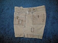 Maurices Womans 7/8 Brown Cotton Zip Fly Deep Pockets Destroyed Shorter Shorts