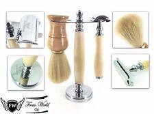 Super Badger Complete Shaving Set Safety Razor & Brush + Bowl Stand Men Kit