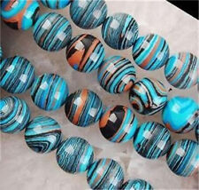 8mm Blue Multicolor Stripe Turkey Turquoise Gem Round Loose Beads 15""