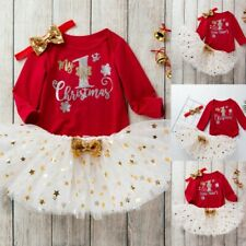 Toddler Baby Kids Girls Christmas Day Letter Romper Top+Tutu Dress+Hairband Set