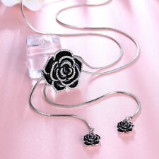 18k Gold GF Black Crystal Camellia Flower Wedding Woman Gift Necklace N-A555