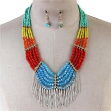 Multi color And Crystal glass Beads Fringed Necklace Earring Set