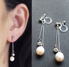 Dangle White Freshwater Pearl Crystal Invisible Clip On Earrings Bridal Wedding