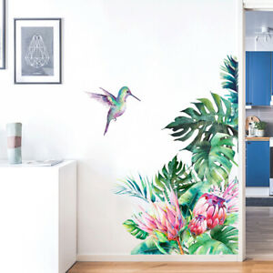 Removable Wall Stickers Protea Flowers Tropical Leaves Hummingbird Corner Decal