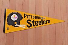vintage PITTSBURGH STEELERS double bar football helmet PENNANT w/ NFL crest logo