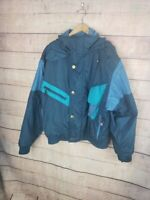 VINTAGE NILS SKIWEAR Mens L Blue Striped Ski Jacket Coat