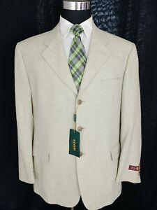 ZANIERI Italy Men's Sport Coat 44R 3Button Beige Wool Cotton Jacket Blazer