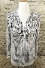 41 Hawthorn Cream And Black Geometric Print Blouse Roll Sleeves Size Small