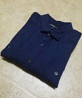 Express Men's Denim Patch Pocket Shirt Dark Blue New Size XL