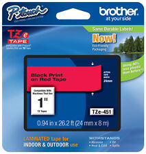 "Brother 1"" (24mm) Black on Red P-touch Tape for PTE550, PT-E550W Label Maker"