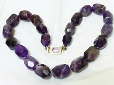 NATURAL AMETHYST BEAD NECKLACE, silver clasp