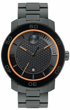 NWT MENS MOVADO (3600098) BOLD MATTE GRAY BLACK TITANIUM ORANGE SWISS WATCH
