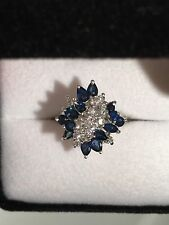 Sapphire Diamond Cluster Ring 14k White Gold ( round pear marquise cut )