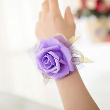 New Bridesmaid Wrist Corsage Party Wedding Rose Bracelet Silk Flowers Ribbon