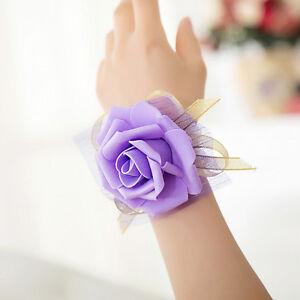 1x Bridesmaid Wrist Corsage Wedding Party Rose Bracelet Silk Flowers Ribbon f FH