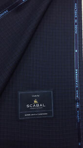 3.5 Metres Navy Check Super 120s & Cashmere Suit Fabric. By Scabal