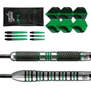 Tungsten Darts Set 21g - 25g Black Grenade Ringed Knurled Perfectdarts