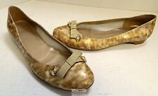 Stuart Weitzman $398rt Beige Tortoise Patent Leather Jeweled Ballet Flats 8 M