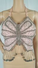 Belly Dance Bra Pink Butterfly Bead Design Silver Coins Made In India Size Small