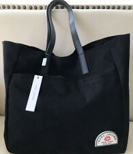 NWT $200 Marc Jacobs Large Canvas Tote Shopper Bag in Black w/ Red Lips Logo