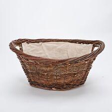 Inglenook Willow Basket Log Carrier Holder With Handles Linen Liner Fixed