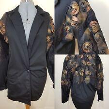 Vintage Rina Dyuarsky Black Oversize 1980s Boyfriend Blogger Blazer Size 12 Goth