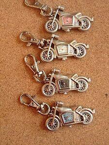 4 x Motorbike Metal keyrings with Quartz Clocks great gifts brand new